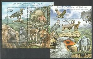 TG1010 2011 TOGO FAUNA WILD ANIMALS ECOSYSTEMS AFRICAN ETHIOPIA BL+KB MNH STAMPS