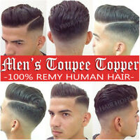 Replacement System MONO PU Thin Skin Men's Toupee Remy Human Hair Hairpieces Wig