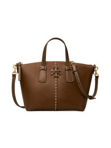 new Tory Burch McGraw Smooth Leather Mini Top-Zip Satchel Handbag in Cold Brew