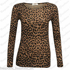 Ladies Women's Brown Leopard Print Long Sleeve Stretch Viscose Tee Top SM ML