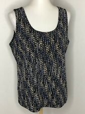 CHICOS 3 Size XL Tank Top Black Blue Dotted Stripe Stretchy Travel Packable