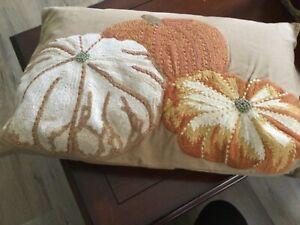 """Pottery Barn Pumpkin Embroidered Lumbar Pillow Cover & Insert~ 16x26"""", EUC"""