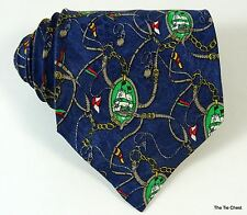 Nautical Silk Tie Sailing Ship Blue Necktie Made in Italy