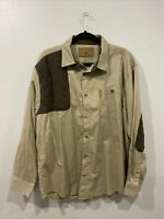 North River Outfitters Shooting Shirt Men Brown Patches Size Large Long Sleeve
