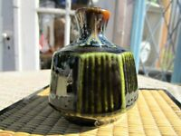 Vintage Small Bud Vase Green Drip Glaze Faceted Mid Century