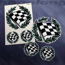 Retro Style Checkered Flag Sticker Decals (x6).
