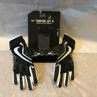 Nike Vapor Jet 4 Football Gloves Black White Silver MSRP $45 GF0572-010