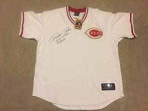 "PETE ROSE AUTO REDS JERSEY "" HIT KING 4256 "" MM MOUNTED MEMORIES COA"