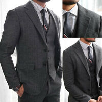 Gray Men's Herringbone Suits Wedding 3 Pieces Tweed Groom Wear Tuxedos Tailored