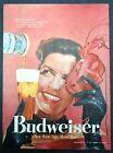 1958 Budweiser Beer Can Mask Ball Mardis Gras Gloves Brunette Lipstick Print Ad
