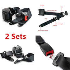 2 Sets Car Truck Automatic Retractable 3 Point Safety Seat Belt Lap Seatbelt Kit