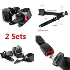2 Sets Car Truck Automatic Retractable 3 Point Safety Seat Belt Lap Seatbelt Kit