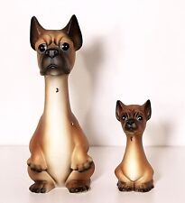 2 Vintage Japan Hand Painted Porcelain Ceramic DOG Figurines