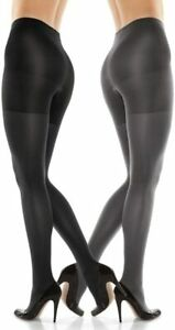 SPANX Assets Reversible Shaping Tights Black & Dark Gray Size 4 NEW