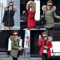 Fashion Women Ladies Winter Down Cotton Parka Long Fur Collar Hooded Coat Jacket