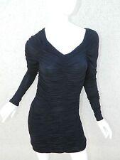 L.A.M.B. Gwen Stefani Dress Black Rouched Long Sleeve LBD Sexy Sz S