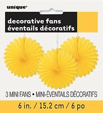 3 x Pretty Yellow paper fans hanging decorations Easter Party Wedding Decoration