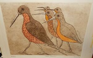 """HELLING """"SHORE BIRDS"""" ORIGINAL LIMITED EDITION ETCHING"""
