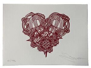 Swoon Letterpress Heart Signed Print Ed / 75