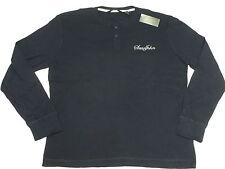 NWT Mens Sean John Embroidered Thermal Henley Shirt Tee Navy Urban Size XL N034