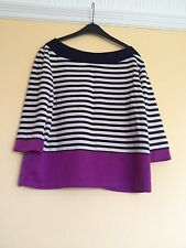 M&Co Purple White & Blue Stripe Striped Stripey Summer 3/4 Sleeve Top Size 14