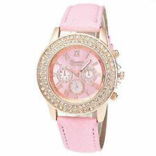 Reloj de pulsera mujeres Señoras Relojes analógico de cuarzo estrás correa de cuero de moda