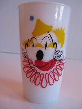 Anchor Hocking clown Milk glass defect print stamp collector picasso one of kind