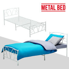 Modern White 3ft Single Sturdy Metal Bed Frame Stylish Bedstead Bedroom