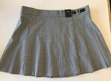 bnwt MARKS & SPENCER PLEATED MINI SKIRT KILT UK 22 BLACK WHITE HOUNDSTOOTH CHECK