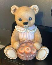"Homco Vintage Teddy Bear Holding a Basket of Apples #1405 Figurine Pink Dress 4"""