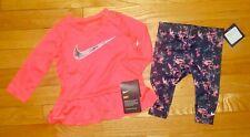 Nike Baby Girls Leggings & Long Sleeve Shirt Outfit Set Size 9 Months