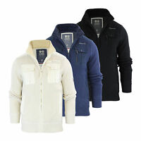 Mens Cardigan Jacket Crosshatch Palax Knitted Fleece Funnel Neck With Quilt Body