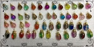 Handcrafted Miniature Crackle Glass Gold Christmas Tree Ornaments 8mm 10mm Oval