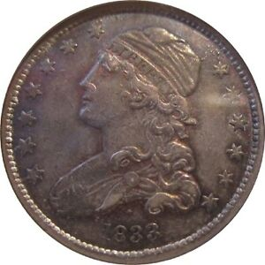 1833 25C Capped Bust Quarter - ANACS AU50 - Lowest Mintage Small CBQ (156,000)
