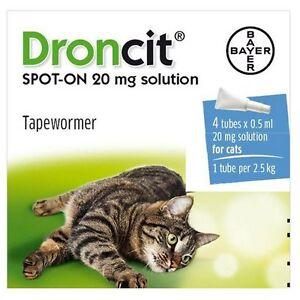 Droncit Spot On Vermifuge 4 Tuyau Paquet pour chats, 4 pipettes, 20g