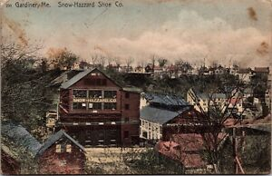 Hand Colored Postcard Snow Hazzard Shoe Company in Gardiner, Maine~139370