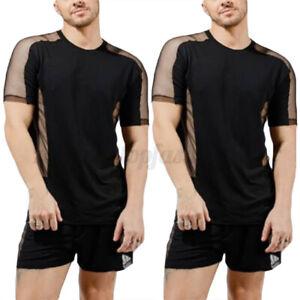 Mens Sexy Mesh Pajamas Set See Through Top Shorts Nightwear Suits Underwear Sets