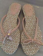 NEW Kate Spade Womens Size 7.5 Mistic Pink Leather Bow Charm Flip Flops Sandals