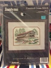 Counted Cross Stitch Kit Janlynn Covered Bridge Country Fishing Picnic 14cnt New