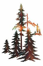 """18"""" Pine Trees Forest Laser Cut Metal Wall Art FORST18WCW ~ Made in USA"""