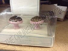 Pottery Barn Kids PBK Ceramic Drawer Dresser Cabinet Pull Knobs Pink Set 2