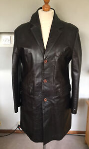 MASTER PELLE MENS BROWN REAL LEATHER 3/4 JACKET SIZE L 40-42 CHEST