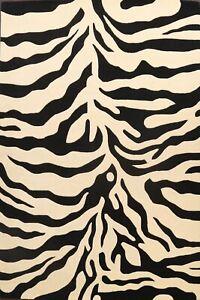 Zebra Animal Print Oriental Area Rug Hand-Tufted Wool Ivory/ Black Modern Carpet