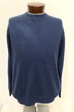 NEW MENS FORTE 100% PURE CASHMERE BLUE PULLOVER SWEATER:SWEATSHIRT SZ M