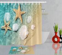 Bathroom Waterproof Summer Beach Starfish Seashell Shower Curtain Hooks Mat