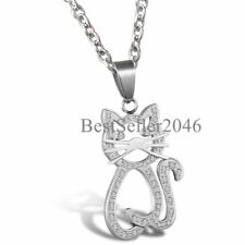Women Girls Rhinestone Accented Kitty Cat Charm Pendant Stainless Steel Necklace