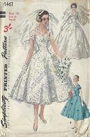 1955 Vintage Sewing Pattern B36 BRIDE, BRIDESMAID DRESS, VEIL HEADPIECE (R961)