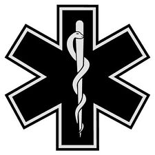 "Black Star of Life 2"" Die Cut Reflective Emergency Medical EMT Decal w/Border"