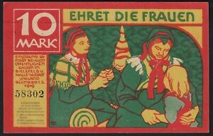 1918 10 Mark Germany Bielefeld Emergency WWI Money Banknote Currency Rare UNC