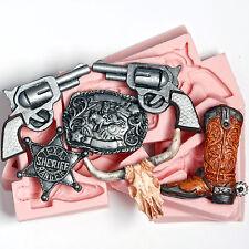 Western Silicone Mold Set Belt Buckle Pistol Badge Cowboy Boot Skull Molds (246)